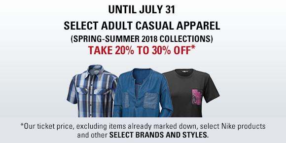 Adult casual wear 20 to 30% off until July 31rst