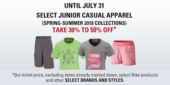 Junior Casual wear 30 to 50% off until july 31