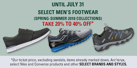 Men's Footwear 20 to 40 percent off until July 31